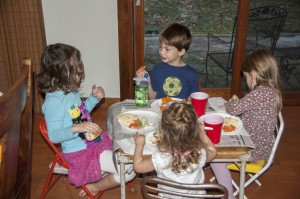 Happy kids eating