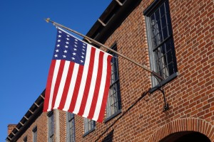 Flag on brick